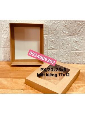 Hộp giấy kraft mặt kiếng chữ nhật 20x25x6