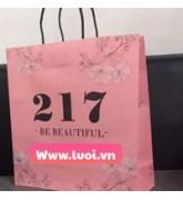 Túi giấy dây giấy màu hồng
