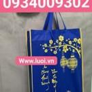Túi vải đựng hộp quà tết 30x40 màu xanh