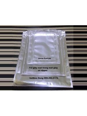 Túi giấy zipper đáy đứng mặt trong mặt giấy